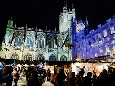 Bath Christmas Markets by The Cathedral Square